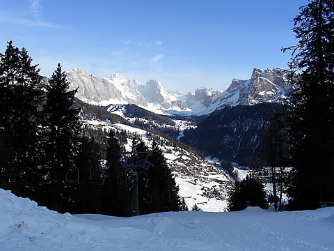 Looking back down the Val Gardena from the Monte Pana area